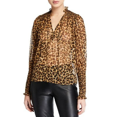 ヴェロニカ ベアード レディース シャツ トップス Jaz Silk Leopard-Print Sheer Blouse