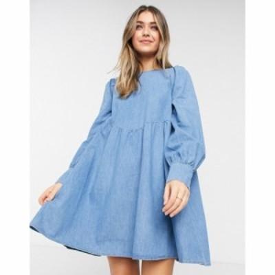 エイソス ASOS DESIGN レディース ワンピース デニム ワンピース・ドレス Soft Denim Puff Sleeve Smock Dress In Midwash ブルー
