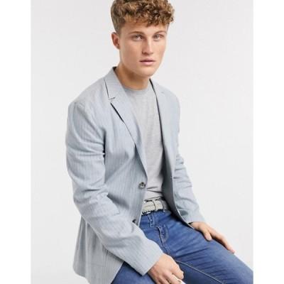 エイソス メンズ ジャケット・ブルゾン アウター ASOS DESIGN skinny casual linen blazer in light blue stripe