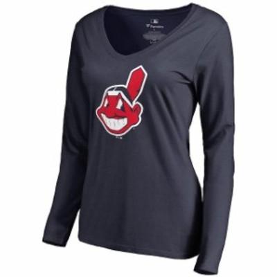 Fanatics Branded ファナティクス ブランド スポーツ用品  Cleveland Indians Womens Navy Team Color Primary Logo V-