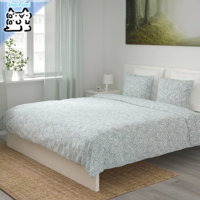 【IKEA Original】TRADKRASSULA 掛け布団カバー&枕カバー(枕カバー2枚)ダブル〜キングサイズ用 ホワイト/ブルー 200x200/50x60 cm