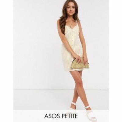 エイソス ASOS Petite レディース ワンピース サンドレス ワンピース・ドレス ASOS DESIGN Petite button through cupped sundress in wh