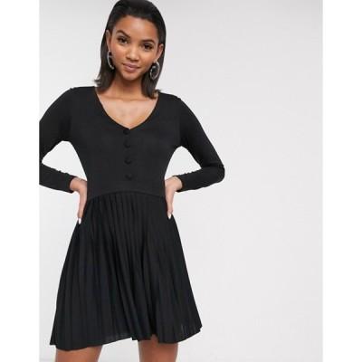 エイソス レディース ワンピース トップス ASOS DESIGN long sleeve pleated mini dress