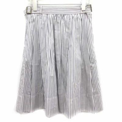 【中古】ドゥーズィエムクラス DEUXIEME CLASSE スカート フレア ひざ丈 ストライプ 36 紺 ネイビー 白 レディース