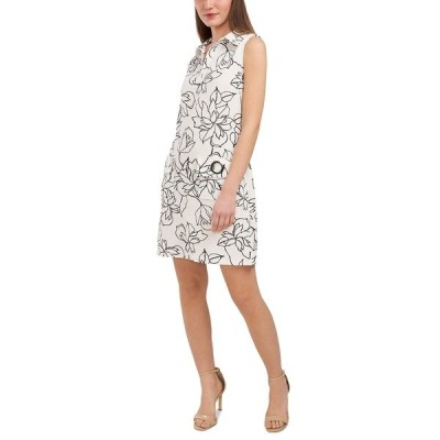 ミスク ワンピース トップス レディース Floral-Print Grommet-Pocket V-Neck Dress White/black