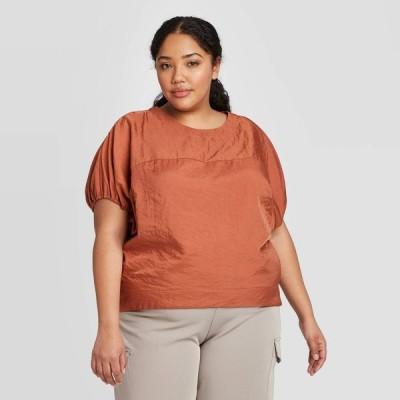 プロローグ Prologue レディース ブラウス・シャツ 大きいサイズ トップス Plus Size Short Sleeve Blouse - Brown