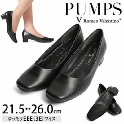 パンプス 靴  プレーン ローヒール スクエアトゥ EEE 3E 低反発 黒 大きいサイズ 小さいサイズ  sh-lp3370