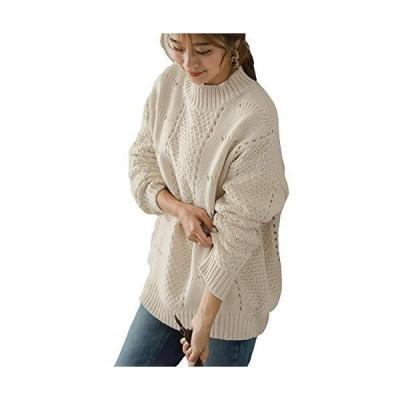 セーター 透かし編み レディース ニット セーター モックネック ゆったり ローゲージ 秋冬 アイボリー