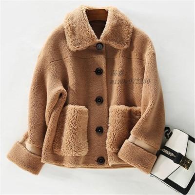 コート 襟付き フェイクファー 冬物 ダウン ジャケット 暖かい オーバーコート ボアコート ムートンコート レディース ファーコート 上品 ショート丈 アウター