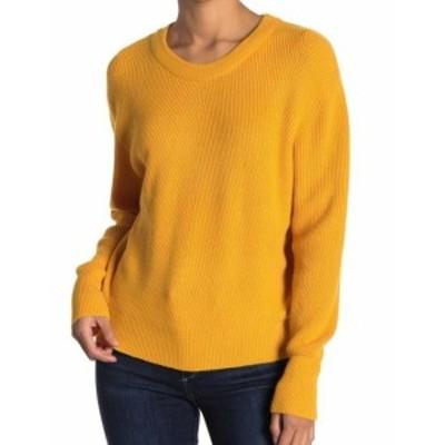 ファッション トップス ELODIE Womens Sweater Yellow Size Medium M Knit Pullover Crewneck