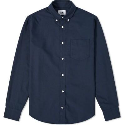 NN07 メンズ シャツ ワイシャツ トップス levon button down oxford shirt Navy Blue