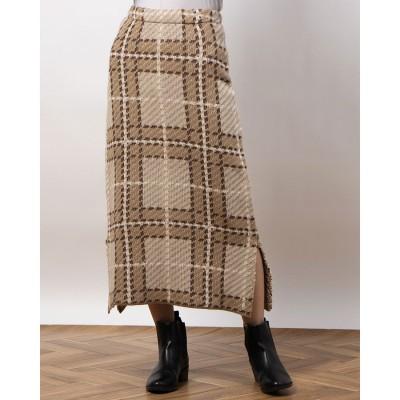 リシェグラマー Riche glamour 5GG アクリルチェック柄ニットスカート (ベージュ)