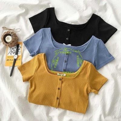 スリムTシャツ 夏 レディース Tシャツ 半袖 リブTシャツ スクエアネック 半袖Tシャツ ニットTシャツ 薄手 通気性 ストレッチ性 ニット