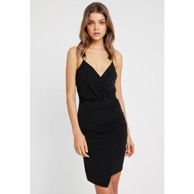 ミスガイデッド レディース ファッション SLINKY WRAP OVER MINI DRESS - Shift dress - black