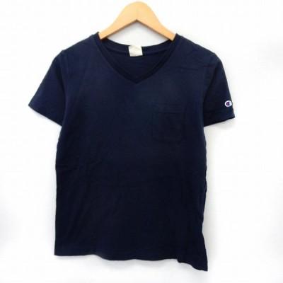 【中古】チャンピオン CHAMPION カットソー Tシャツ 半袖 Vネック ポケット シンプル S ネイビー 紺 /ST51 レディース 【ベクトル 古着】