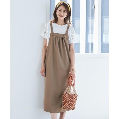【大きいサイズ】 【主役級】2点セット(ジャンスカ+レース切替プルオーバー) ワンピース, plus size dress