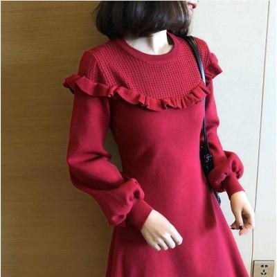 [55555SHOP]日系ファッション2020早春服新作 ニットワンピース パーティードレス  ワンピース パーティードレス ワンピ ショートドレス結婚式 二次会