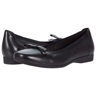 クラークス Un Darcey Bow レディース フラットシューズ Black Leather