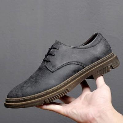 革靴 メンズ 紐 プレーントゥ メンズシューズ 防滑 ビジネスシューズ フォーマル オフィス 紳士靴 革 お兄系 春秋 新作 カジュアル