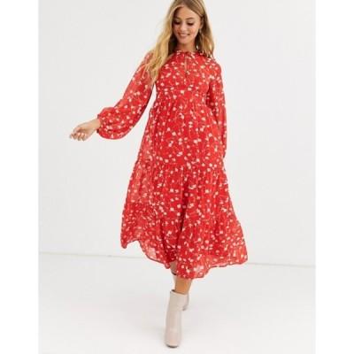 エイソス レディース ワンピース トップス ASOS DESIGN tiered long sleeve smock maxi dress in floral print