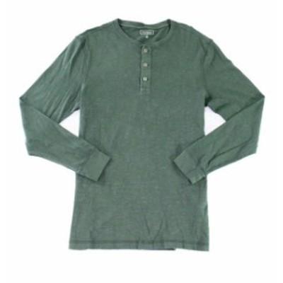 ファッション アウター Club Room Mens Shirt Deep Woods Green Size Medium M Garment-Dye Henley