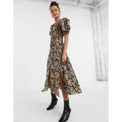 トップショップ レディース ワンピース トップス Topshop grunge midi dress in floral print Multi
