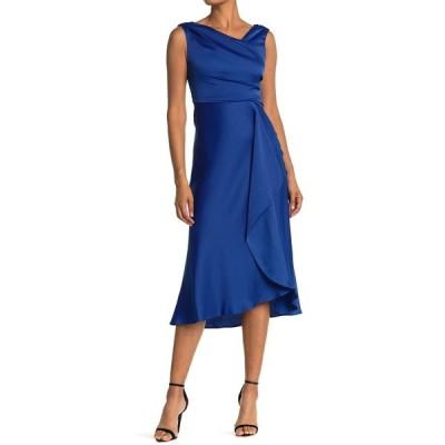 テイラー レディース ワンピース トップス Satin Ruffle Sleeveless Dress DEEP OCEAN