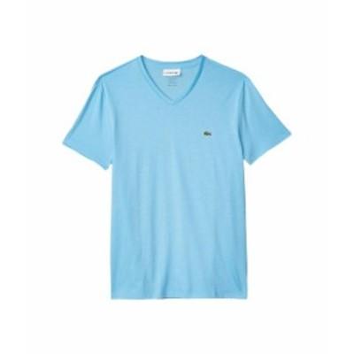 ラコステ メンズ シャツ トップス Short Sleeve V-Neck Pima Jersey Tee Barbeau Blue