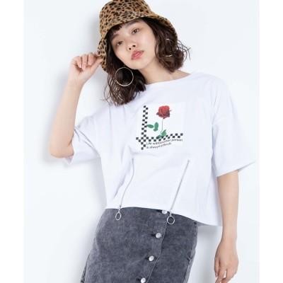 WEGO WEGO/リングジップローズフォトTシャツ(ホワイト)【返品不可商品】