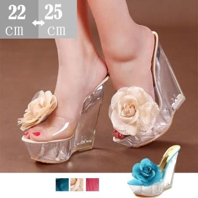 サンダルクリア ウエッジソールサンダル /スリッパ/ウエッジソール 花柄靴サンダル ハイヒール 美脚 大きいサイズサイズ靴レディース〜25cm