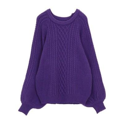 ニット ボリューム袖ケーブル編みニットセーター