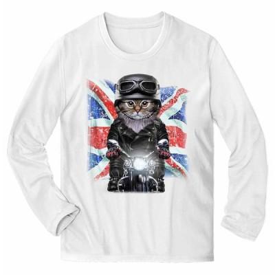 【サイベリアン ねこ バイク イギリス】メンズ 長袖 Tシャツ by Fox Republic