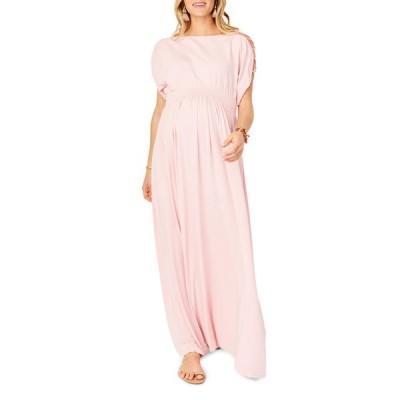 イングリッド&イザベル レディース ワンピース トップス Maternity Laced-Sleeve Smocked Empire Maxi Dress