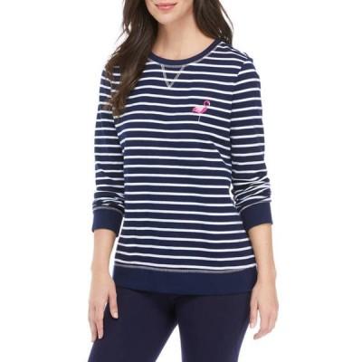 キム ロジャース レディース パーカー・スウェット アウター Women's Long Sleeve Striped Sweatshirt