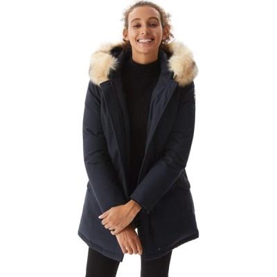 Molemsx レディース 厚手ダウンジャケット 暖かいパーカー ダウンコート ファーフード付き パファージャケット, ネイビー, XX-Large