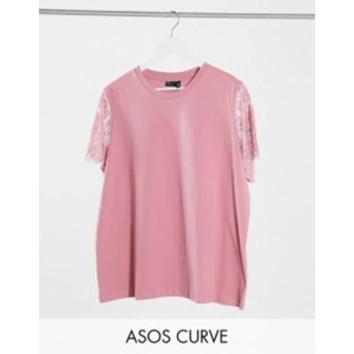 エイソス レディース シャツ トップス ASOS DESIGN Curve t-shirt with lace sleeve detail in dusty pink Dusty pink