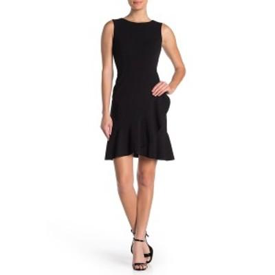 トミー ヒルフィガー レディース ワンピース トップス Sleeveless Ruffle Hem Crepe Dress BLACK