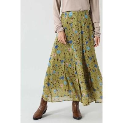 ROSE BUD / ローズ バッド フラワープリントタックフレアスカート