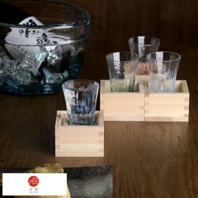 日本酒好き のための 津軽びいどろ 酒器 枡酒杯 花めぐり こぼれ酒 セット 2点セット  日本酒 グラス