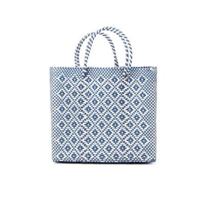 flower / メルカドバッグ ロンボ ホワイト×メタリックブルー ミディアム WOMEN バッグ > かごバッグ