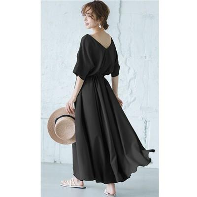 Vネックフレアワンピース【la-gemme】 (ワンピース)Dress