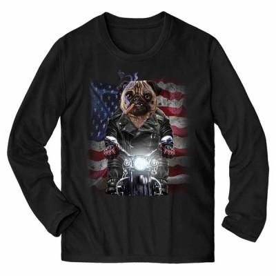 【不機嫌なパグ ドッグ 犬 いぬ バイク 星条旗 アメリカ】メンズ 長袖Tシャツ by Fox Republic