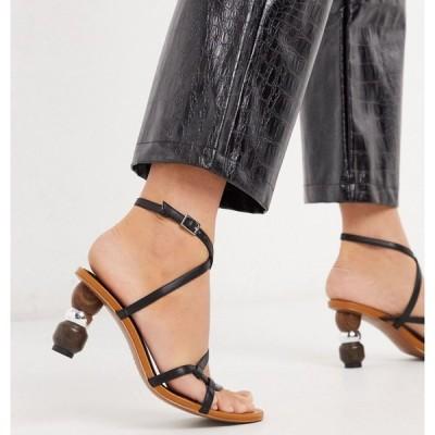 フー ワット ウェアー Who What Wear レディース サンダル・ミュール シューズ・靴 Ryleigh strappy sandals with heel interest in black ブラック
