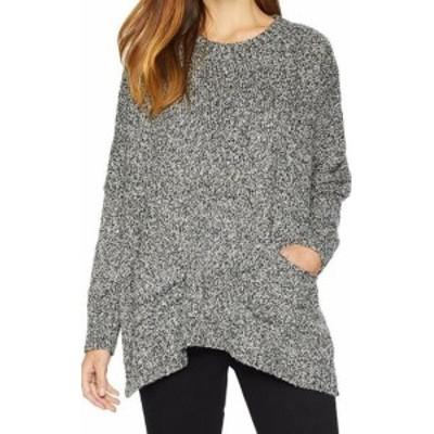 kensie ケンジー ファッション トップス Kensie Womens Black One Size Marles Knit Crewneck Tunic Sweater