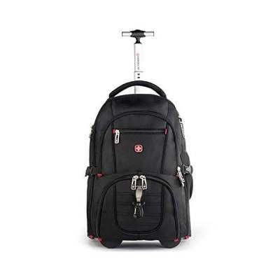[新品]Wheeled Trolley Backpack,Business Travel Laptop Bag,Waterproof and Wearable Large Capacity Handbag (Color : Black, Size : 52x35x
