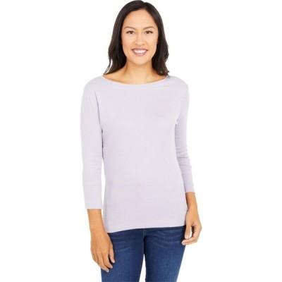 スリードッツ Three Dots レディース 長袖Tシャツ トップス 100% Cotton Heritage Knit 3/4 Sleeve British Tee Lavender Aura