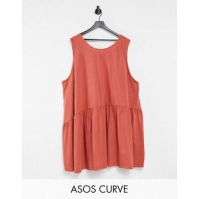 エイソス レディース ワンピース トップス ASOS DESIGN Curve sleeveless smock dress with v back in rust Rust