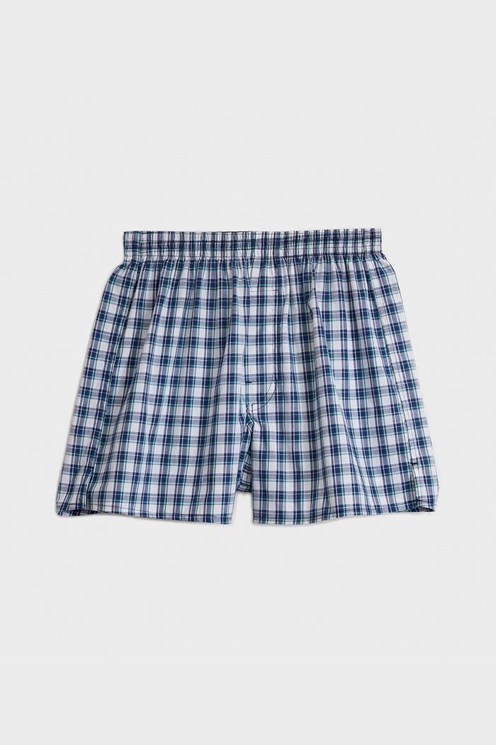 (男款)專職格紋.平織純棉四角內褲(白/藍/草綠/亮綠格)