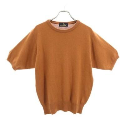 cashmere カシミヤニット 茶系  半袖 セーター 日本製 レディース 古着 201211