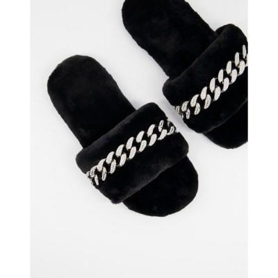 パブリックデザイア レディース サンダル シューズ Public Desire Gimme slippers with chain in black Black
